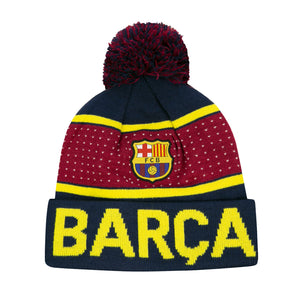 FC Barcelona Pegged Youth Pom Beanie by Icon Sports