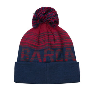 FC Barcelona Striped Barça Pom Youth Beanie by Icon Sports