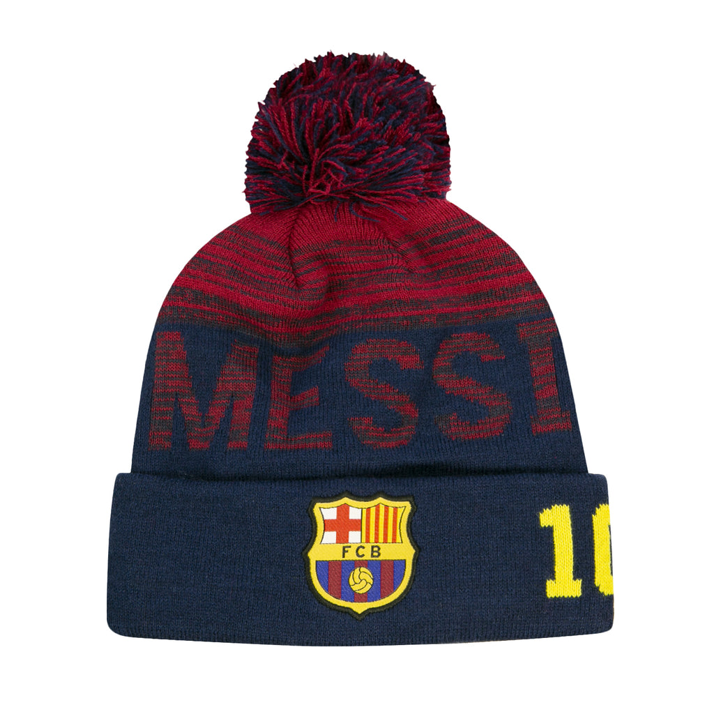 FC Barcelona Striped Messi Youth Pom Beanie by Icon Sports