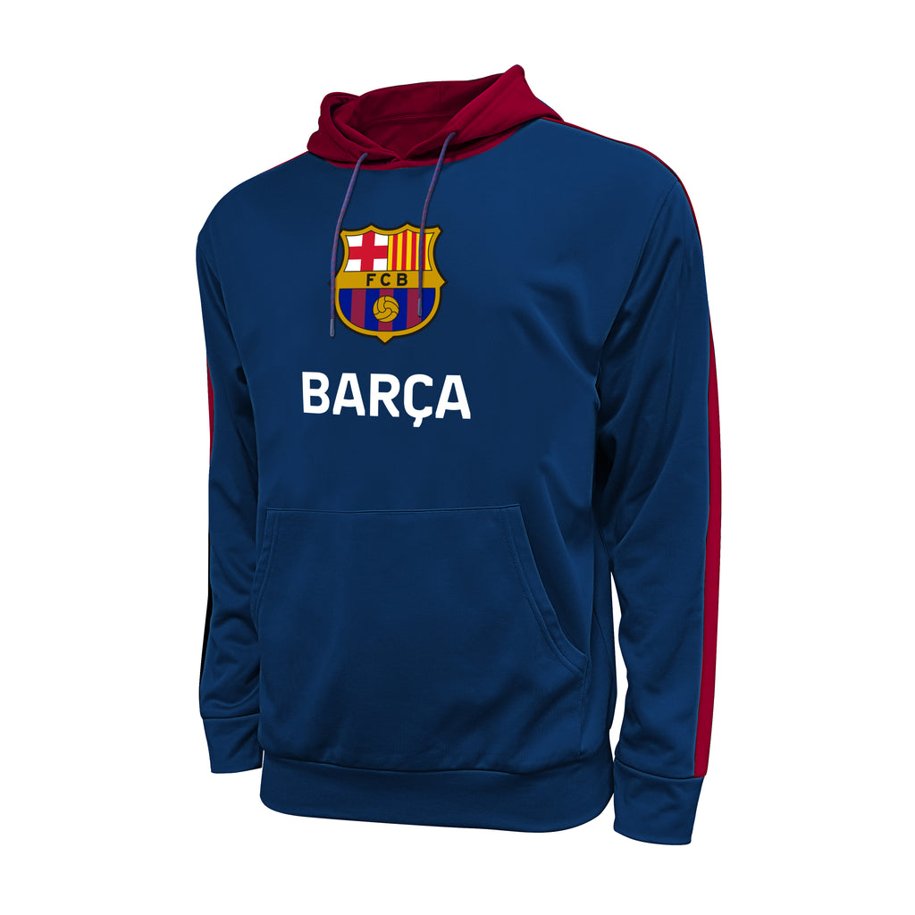 FC Barcelona Side Step Pullover Hoodie - Navy by Icon Sports