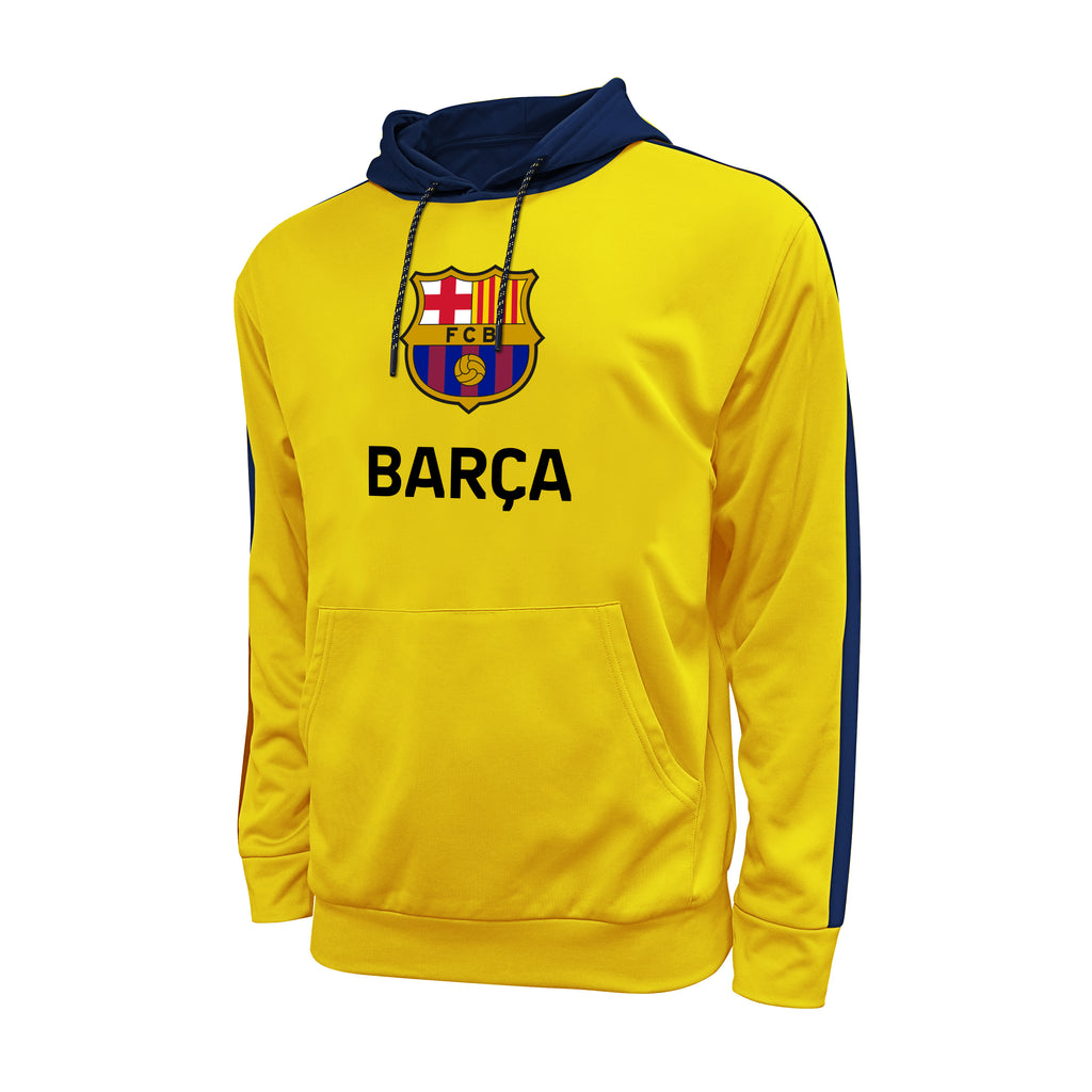FC Barcelona Side Step Pullover Hoodie - Yellow by Icon Sports