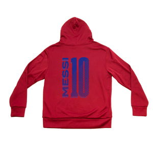 FC Barcelona Youth Side Step Full Color Logo Pullover Hoodie - Red by Icon Sports