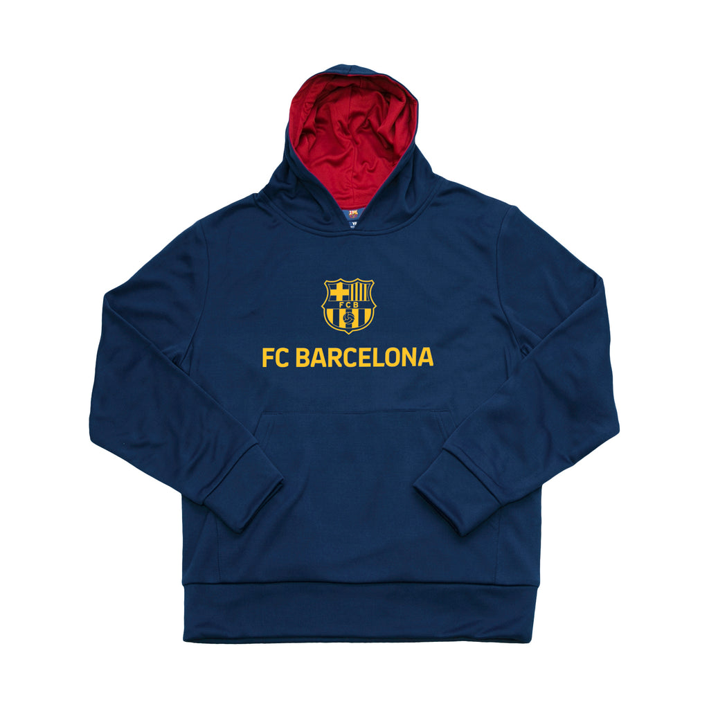 FC Barcelona Youth Logo Pullover Hoodie - Navy by Icon Sports