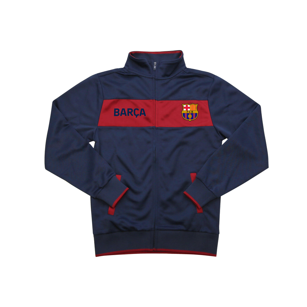 "FC Barcelona ""Centering"" Youth Full-Zip Track Jacket - Navy by Icon Sports"