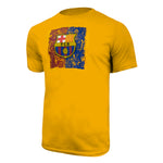 FC Barcelona Color Distressed Logo T-Shirt - Yellow by Icon Sports