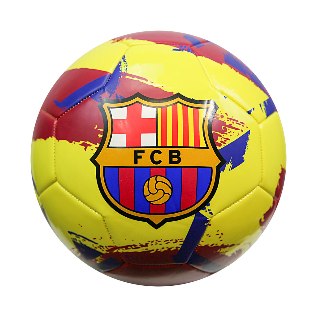 FC Barcelona Brush Size 5 Soccer Ball - Yellow by Icon Sports