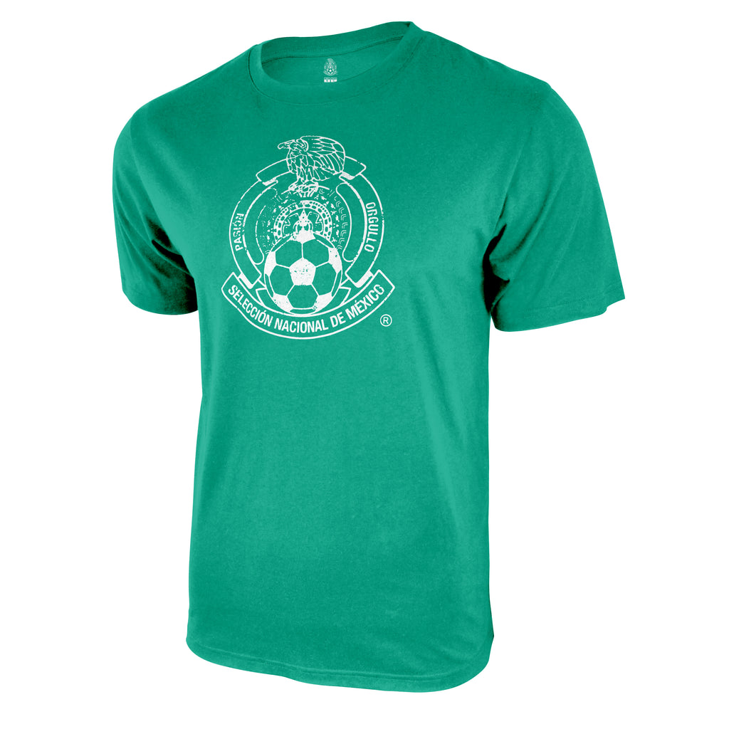 Mexico National Soccer Team Distressed Logo T-Shirt - Kelly Green by Icon Sports