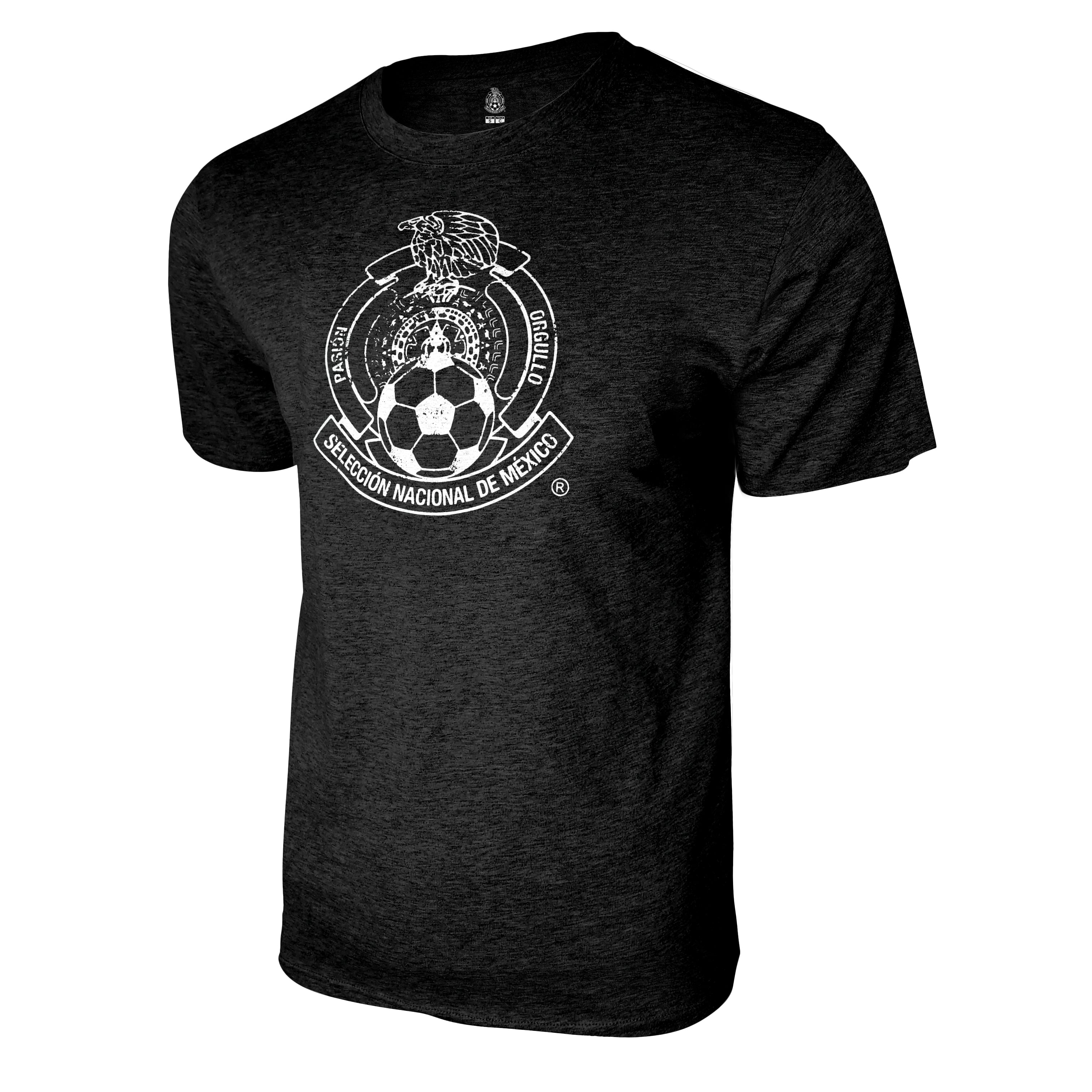 Mexico National Soccer Team Distressed Logo T-Shirt - Heather Black by Icon Sports