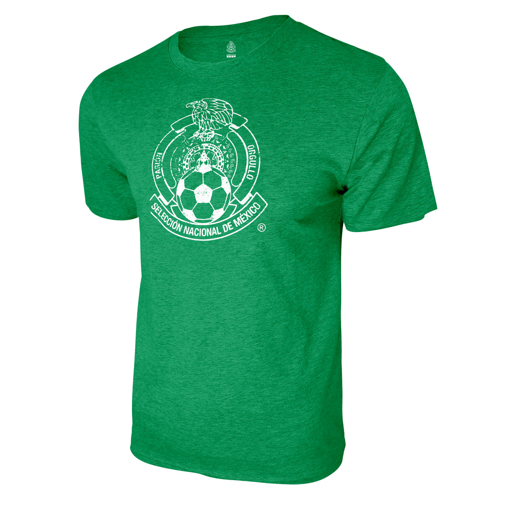 Mexico National Soccer Team Distressed Logo T-Shirt - Heather Kelly by Icon Sports