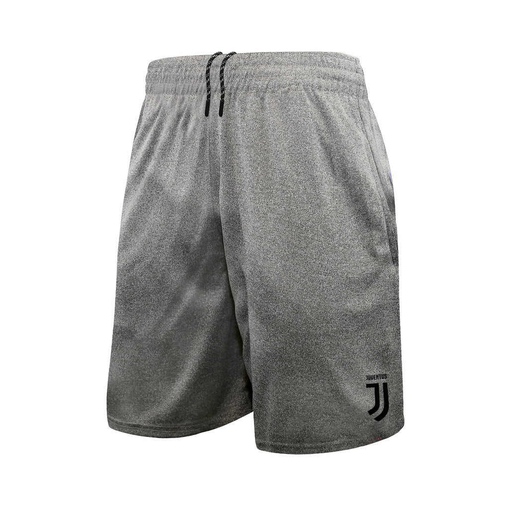Juventus Men's Reflective Athletic Soccer Shorts in Heather Grey by Icon Sports