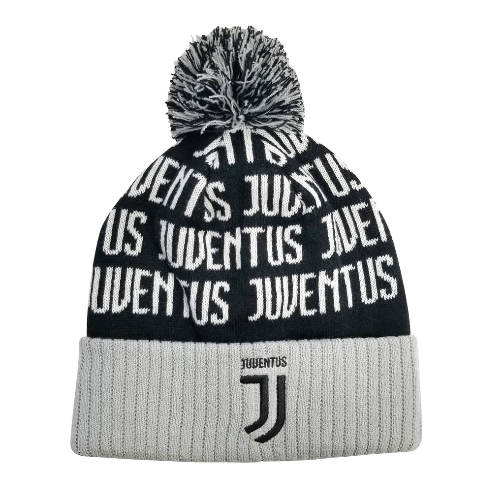 Juventus F.C. Cuff Pom Beanie - Gray Cuff by Icon Sports
