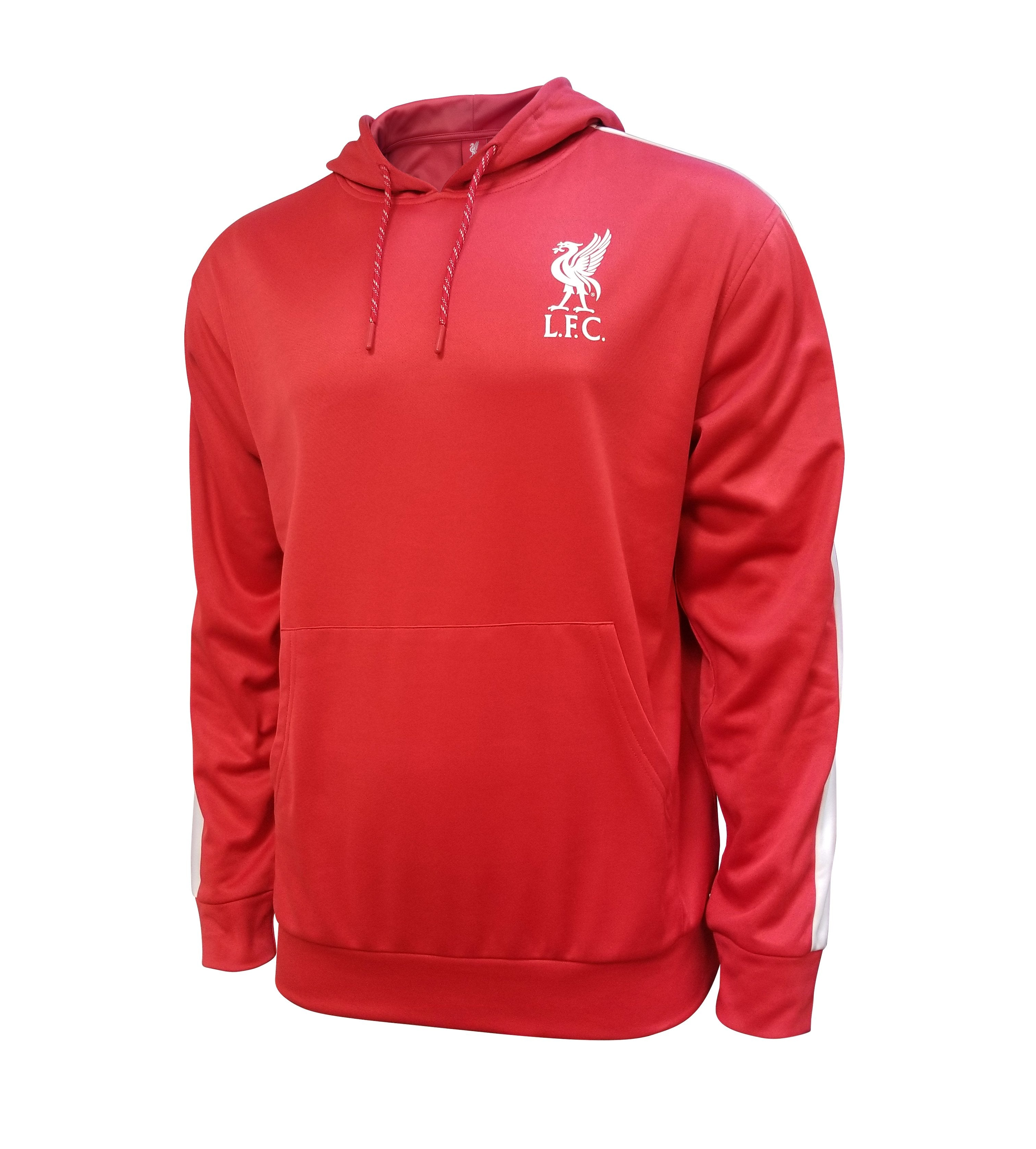 Liverpool FC Pullover Hoodie - Red w/stripe by Icon Sports