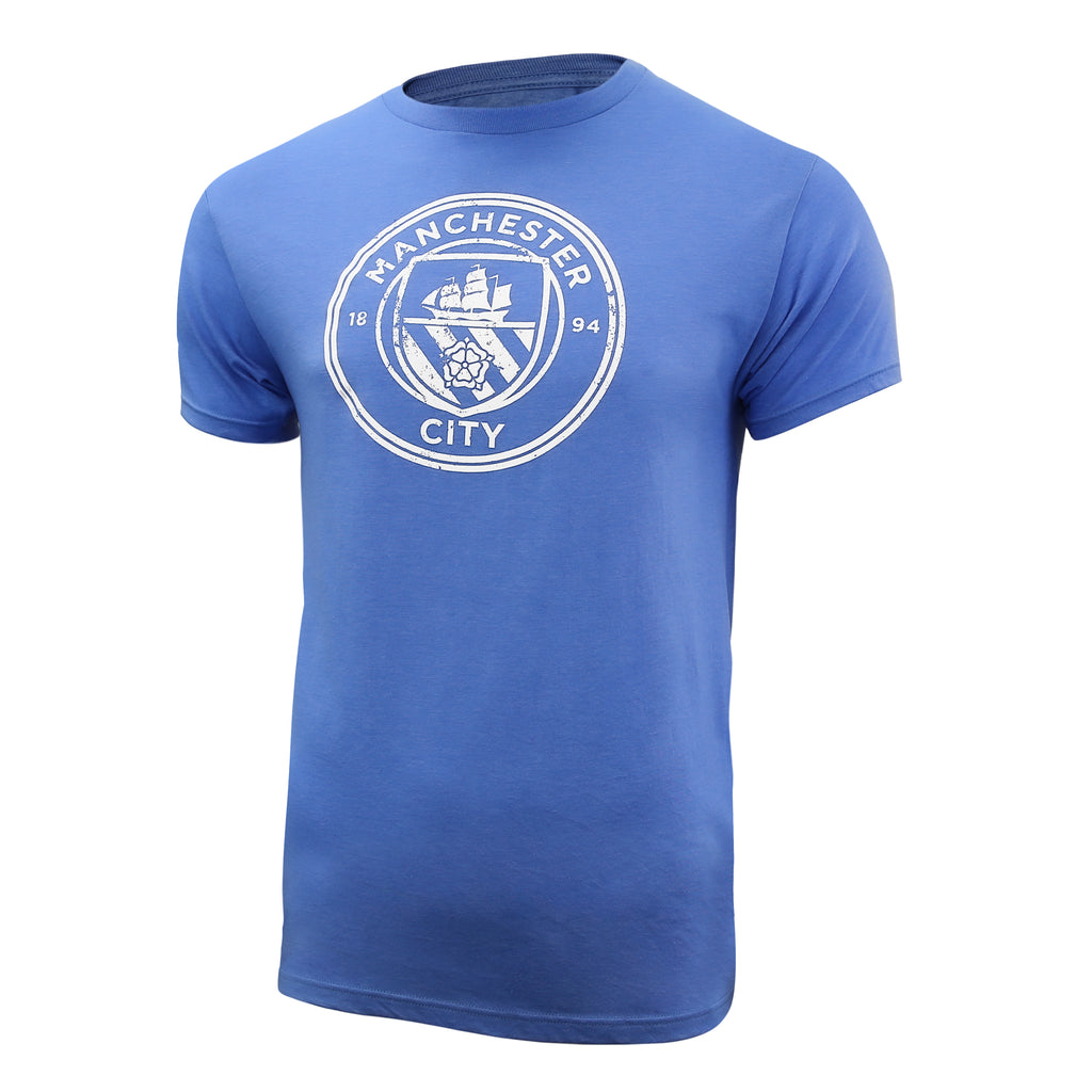 Manchester City Distressed Logo T-Shirt - Heather Light Blue by Icon Sports