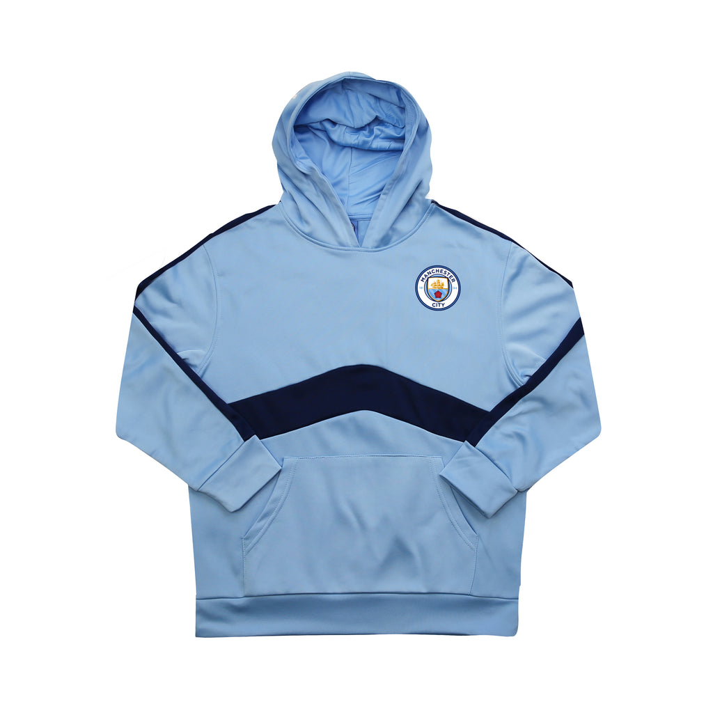 Man City Pullover Hoodie Youth- Blue & Navy by Icon Sports