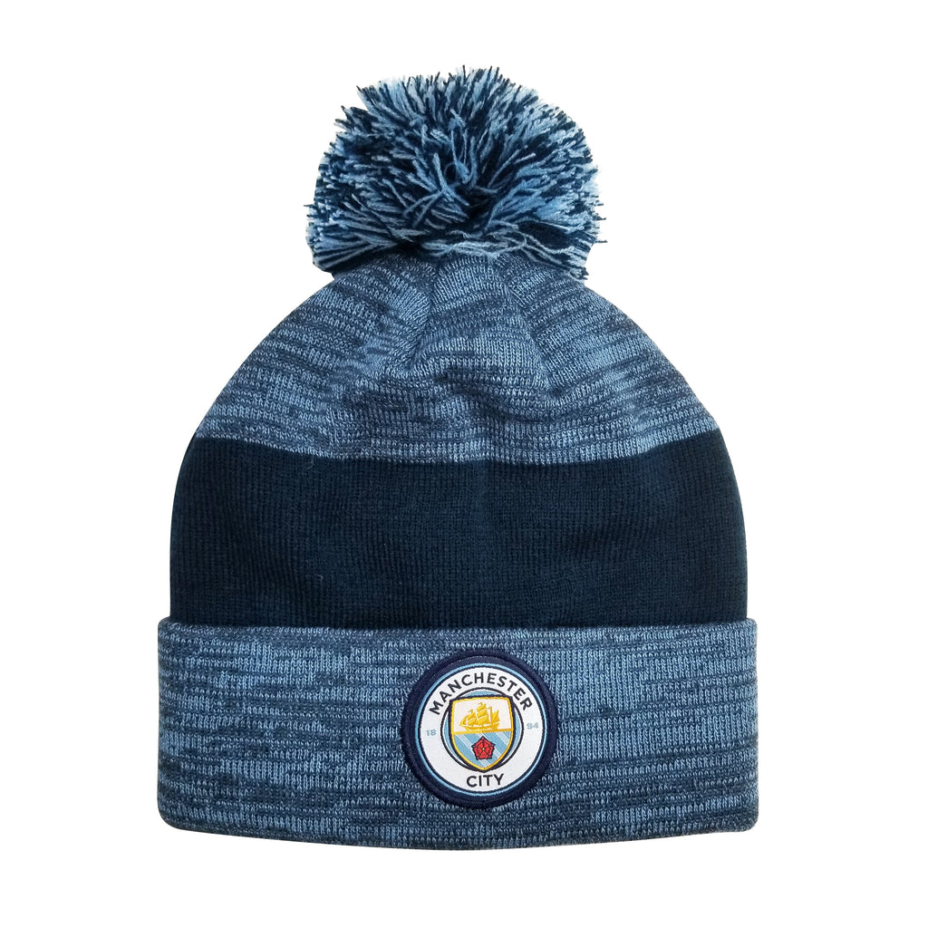 Manchester City F.C. Cuff Pom Beanie - Heather Blue Cuff by Icon Sports