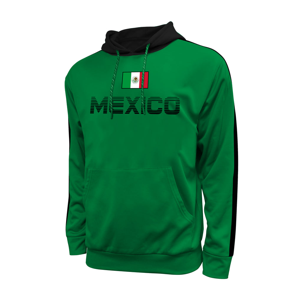 Mexico Adult Stripe Pullover Hooded Sweatshirt - Green by Icon Sports