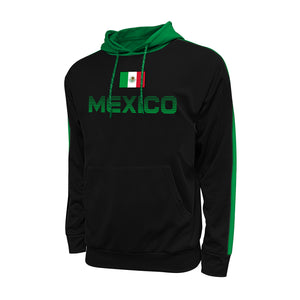 Mexico Adult Stripe Pullover Hooded Sweatshirt - Black by Icon Sports