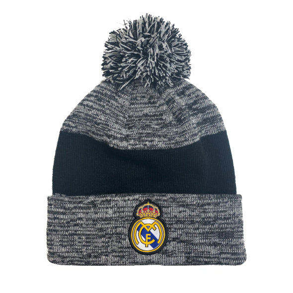 Real Madrid Cuff Pom Beanie - Heather Grey Cuff