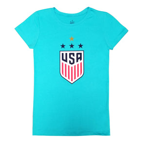 U.S. SOCCER USWNT 4 STAR CELEBRATION CREST GIRL'S TEE - LIGHT BLUE