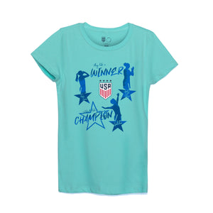 Morgan Rapinoe Lloyd USWNT Celebrate Like a Champion Girls Tee by Icon Sports