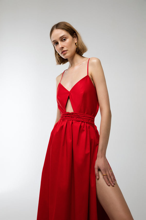Cala - Long Cotton dress in red