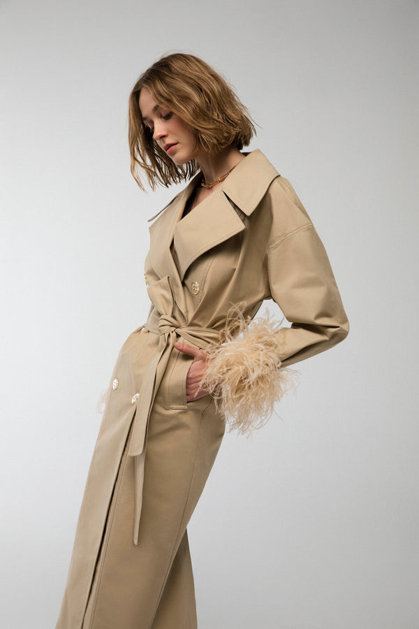 Marley - Trenchcoat with feather trim