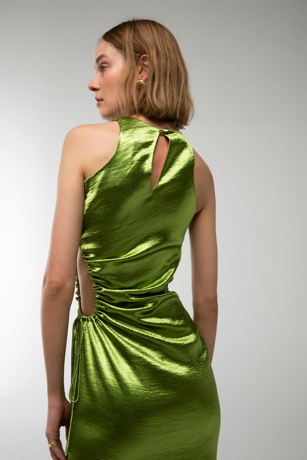 Dominica - Midi dress with side cut out in green