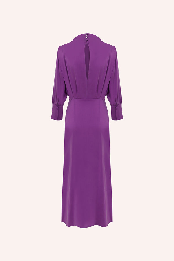 Rosie - Tie up midi silk dress