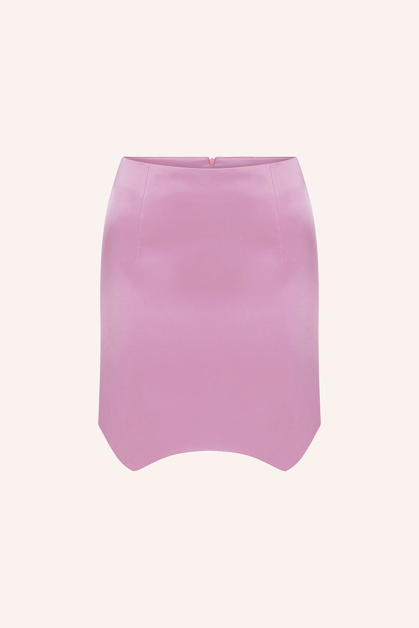 Ruby - Mini asymmetrical satin skirt in pink