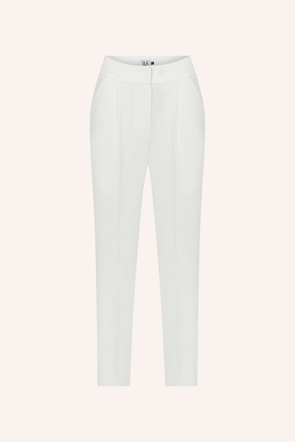 Laia - Pleated trousers in white