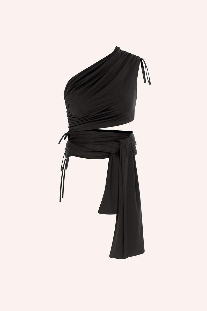 Agatti - One shoulder wrap up top in black