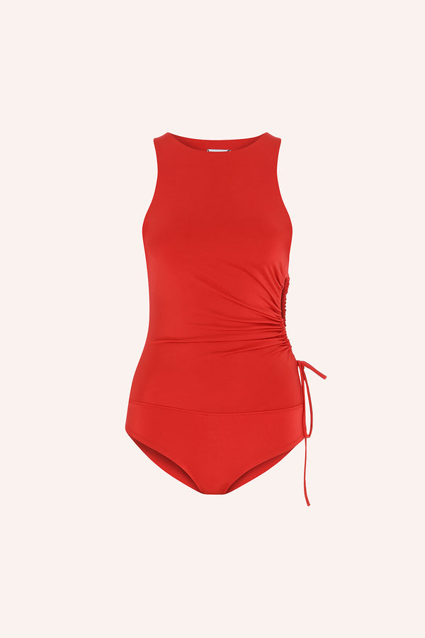Dominica - Jersey top with side cut out in red