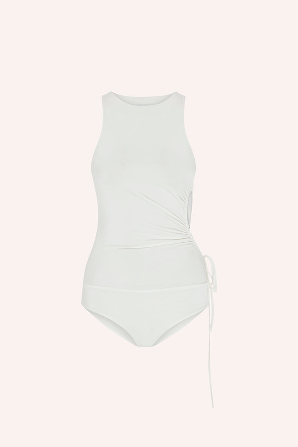 Dominica - Jersey top with side cut out in white