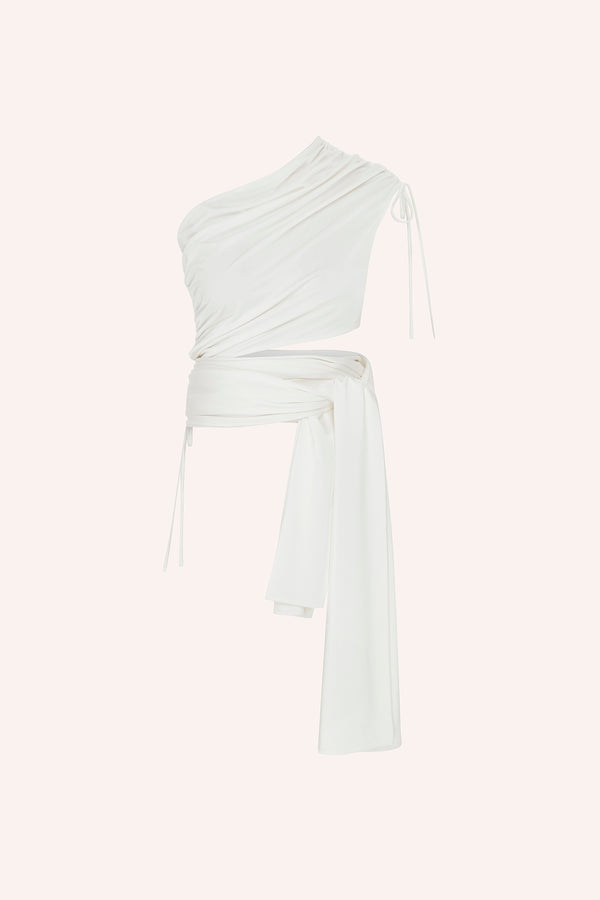 Agatti - One shoulder wrap up top in white
