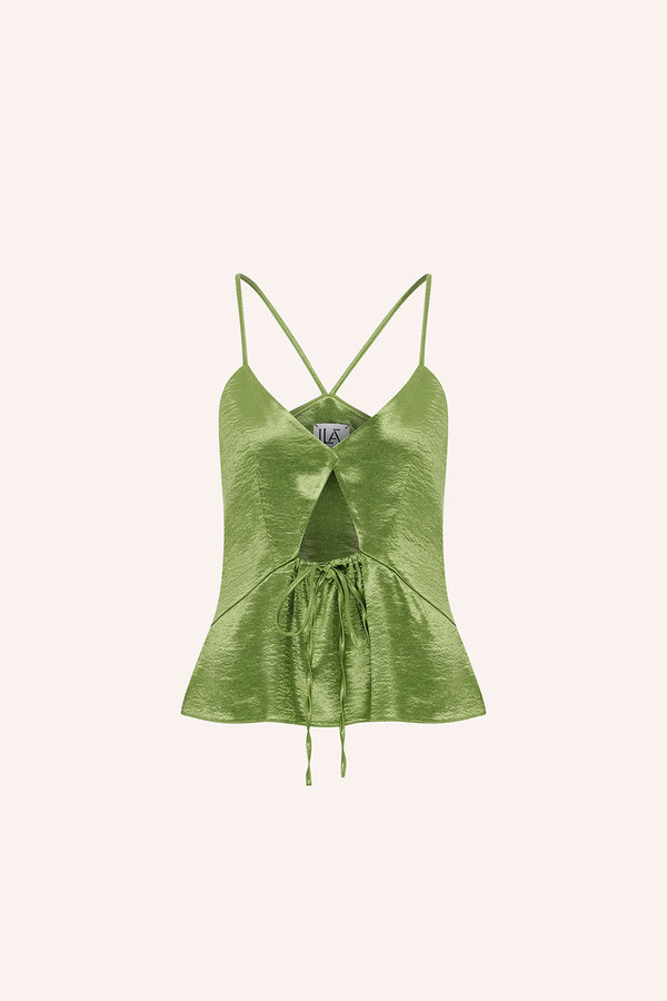 Cala - Top with front cut out in green