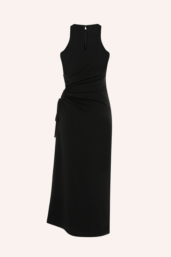 Dominica - Midi dress with side cut out in black