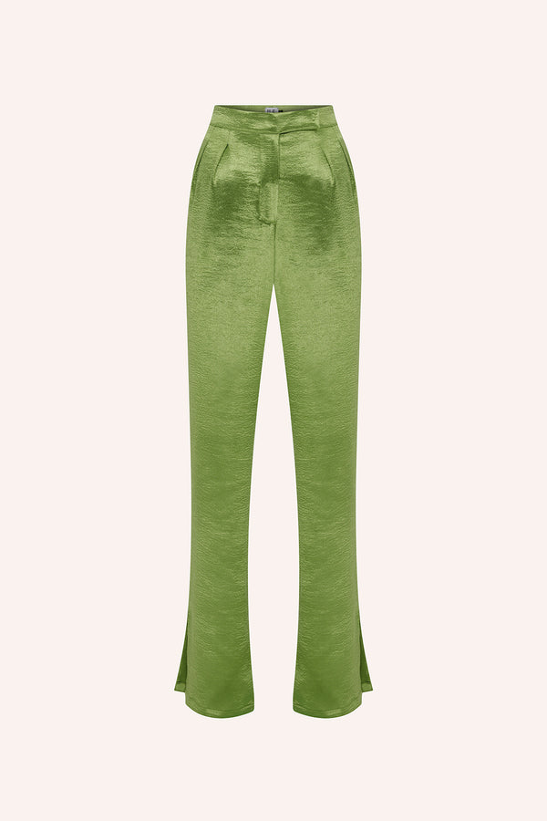 Cala - Double pleated trousers in green