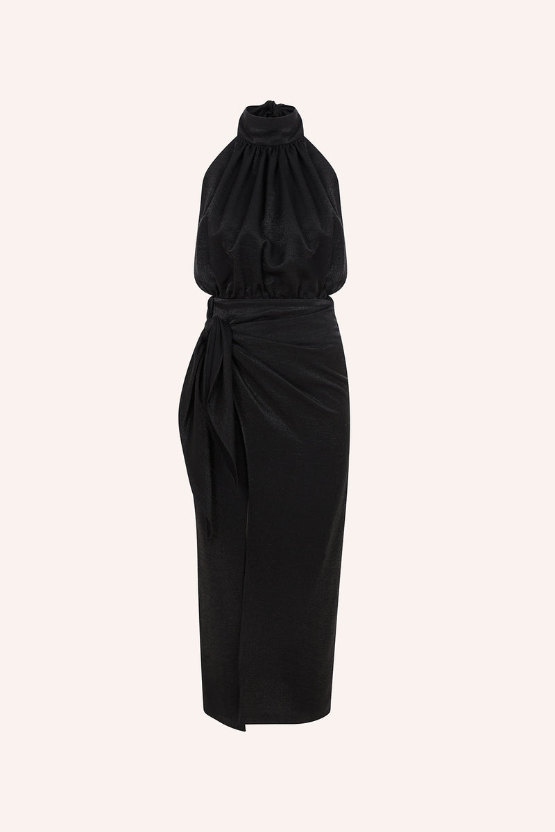 Amanda -Wrap up dress with open back in black