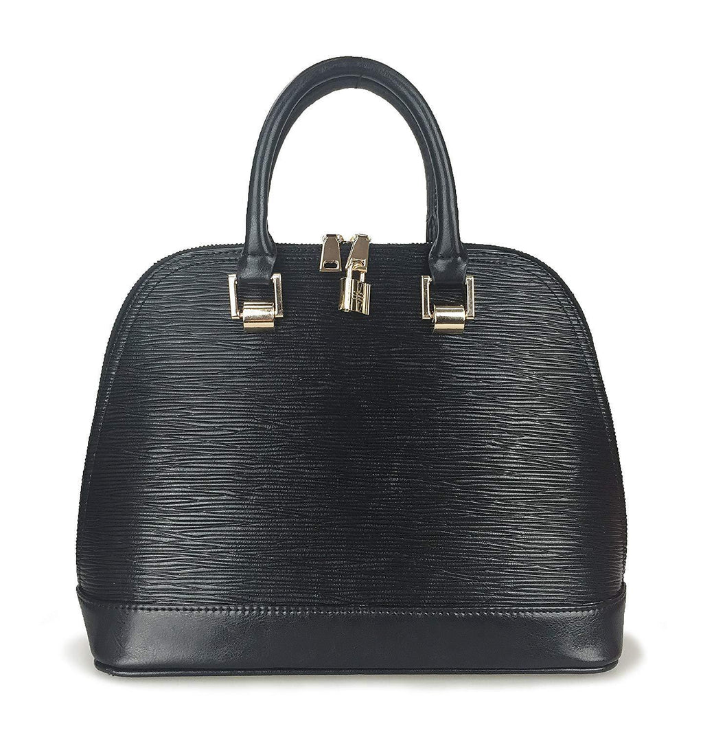 Classical Wood Grain Embossed Shoulder Handbag