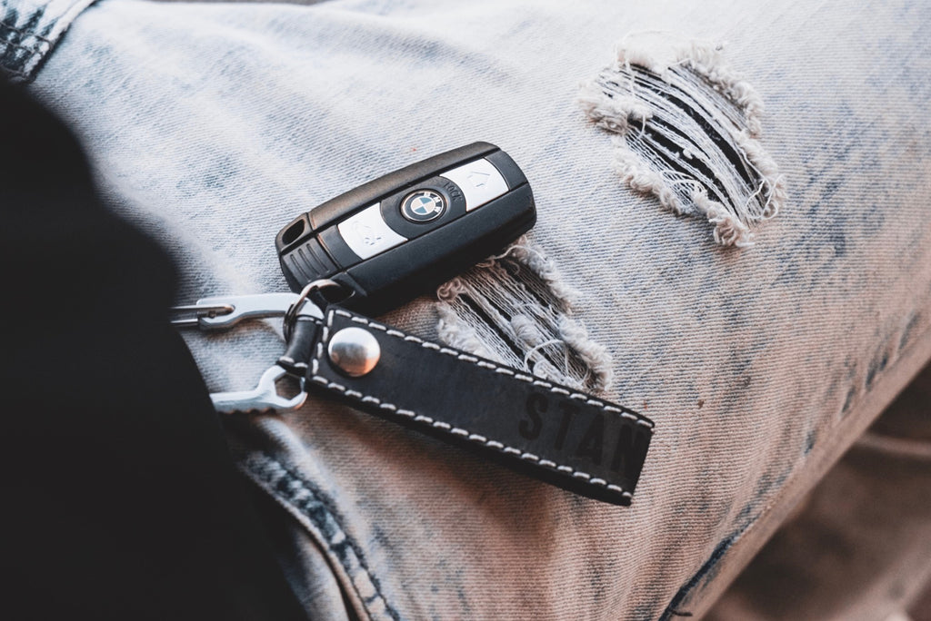 Multi-Tool Carabiner Leather Keychain