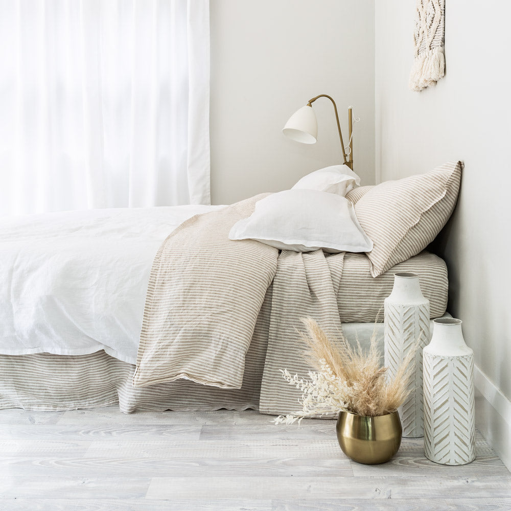Everything Bed Linen Set - Arctic White + Desert Stripe