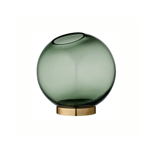 AYTM Globe Vase in Green and Brass - Small