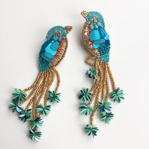 Handcrafted Kingfisher Bird Earrings