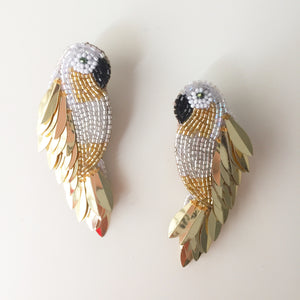 Handcrafted Ara Bird Earrings in Gold