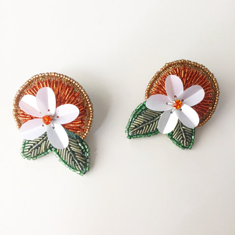 Handcrafted Orange Blossom Earrings