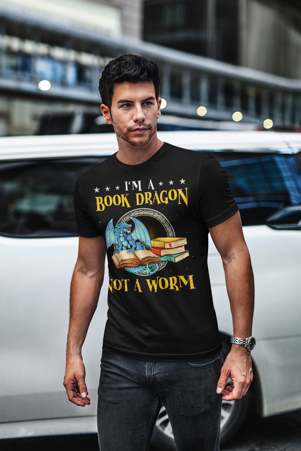 Book Dragon - Short-Sleeve Men's T-Shirt - Bookish Merchandise - Gift for Booklovers - Book Merch - Reading Accessories - Bookacy - Books and More