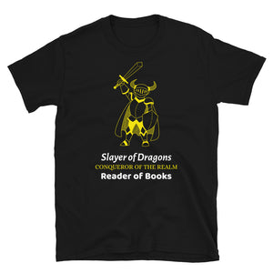Slayer of Dragons - Short-Sleeve Unisex T-Shirt - Bookish Merchandise - Gift for Booklovers - Book Merch - Reading Accessories - Bookacy - Books and More