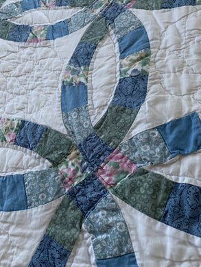 Handmade Vintage Queen Size Wedding Ring Quilt in Blues, Green
