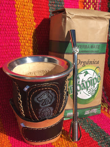 Leather covered Maté Gourd Cup + Bombilla (Straw) + Organic Yerba Maté | FREE SHIPPING
