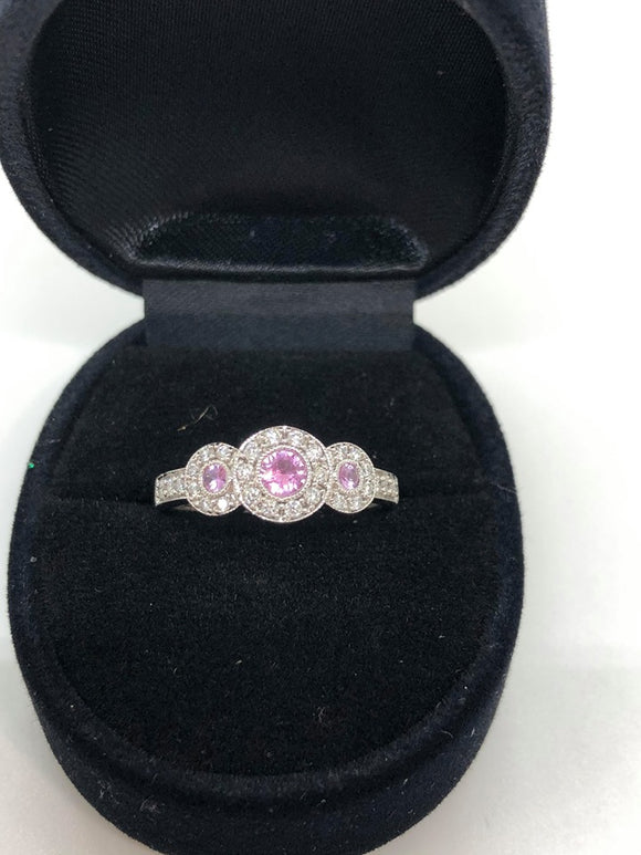 10ct Ladies Pink Sapphire & Diamond Ring